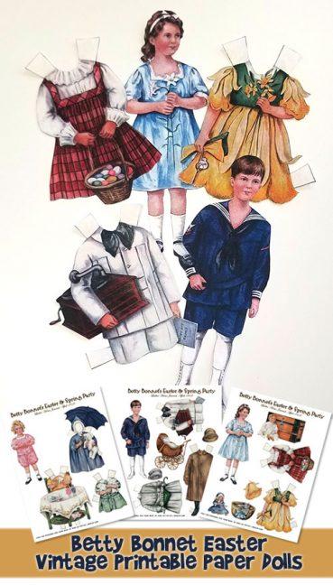 Easter Betty Bonnet Printable Vintage Paper Dolls