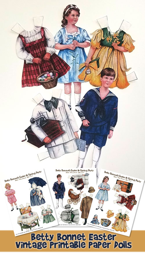 Free Betty Bonnet Easter Printable Vintage Paper Dolls