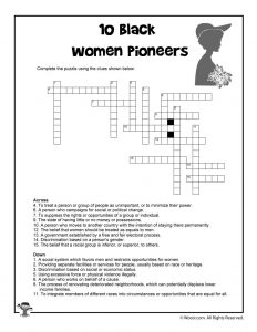 10 Black Women Pioneers Word Search Crossword