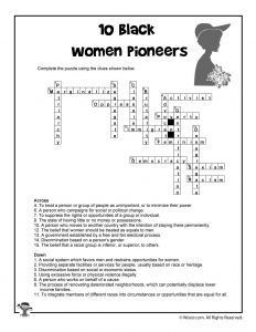 10 Black Women Pioneers Word Search Crossword Answers