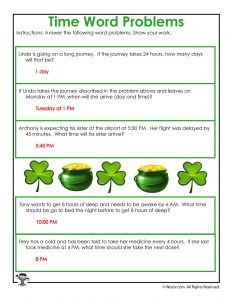 St. Patrick's Day Time Worksheet Answer Key