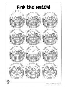 Easter Basket Find the Match Printable