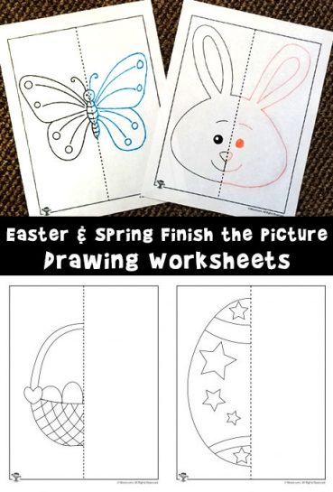 Easter and Spring Finish the Picture Drawing Worksheets
