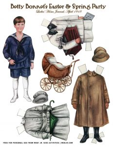 Vintage Boy Paper Dolls Set