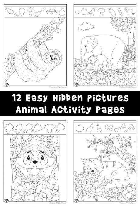 12 Easy Hidden Pictures Animal Activity Pages