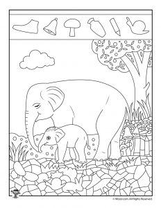 Elephant Easy Hidden Pictures Printable