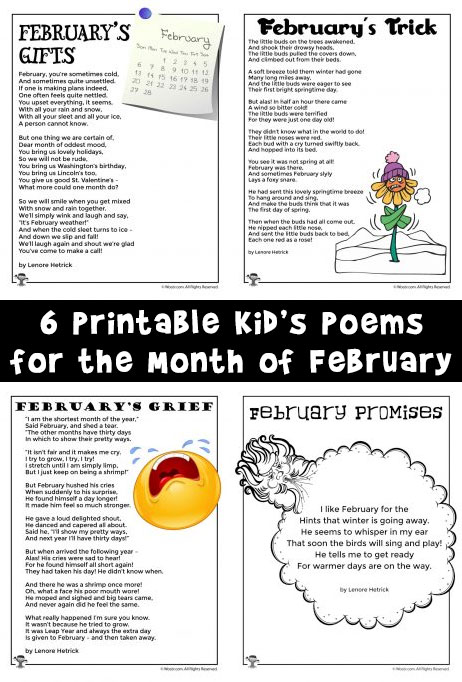 6 Printable Kid's Poems for the Month of February