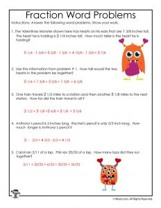 Valentine's Day Math Fractions Worksheet Answer Key