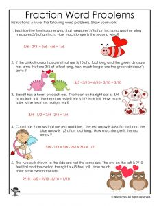 Valentine's Day Fractions Word Problems Worksheet Answer Key