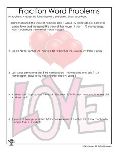 Story Problems Worksheet with Fractions for Valentine's Day