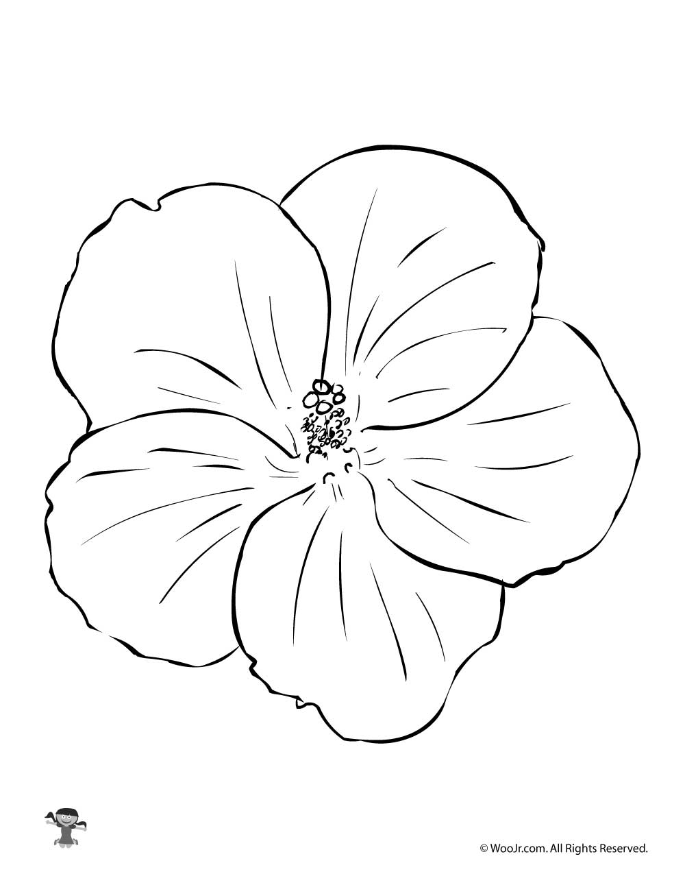 Yellow Hibiscus Coloring Pages