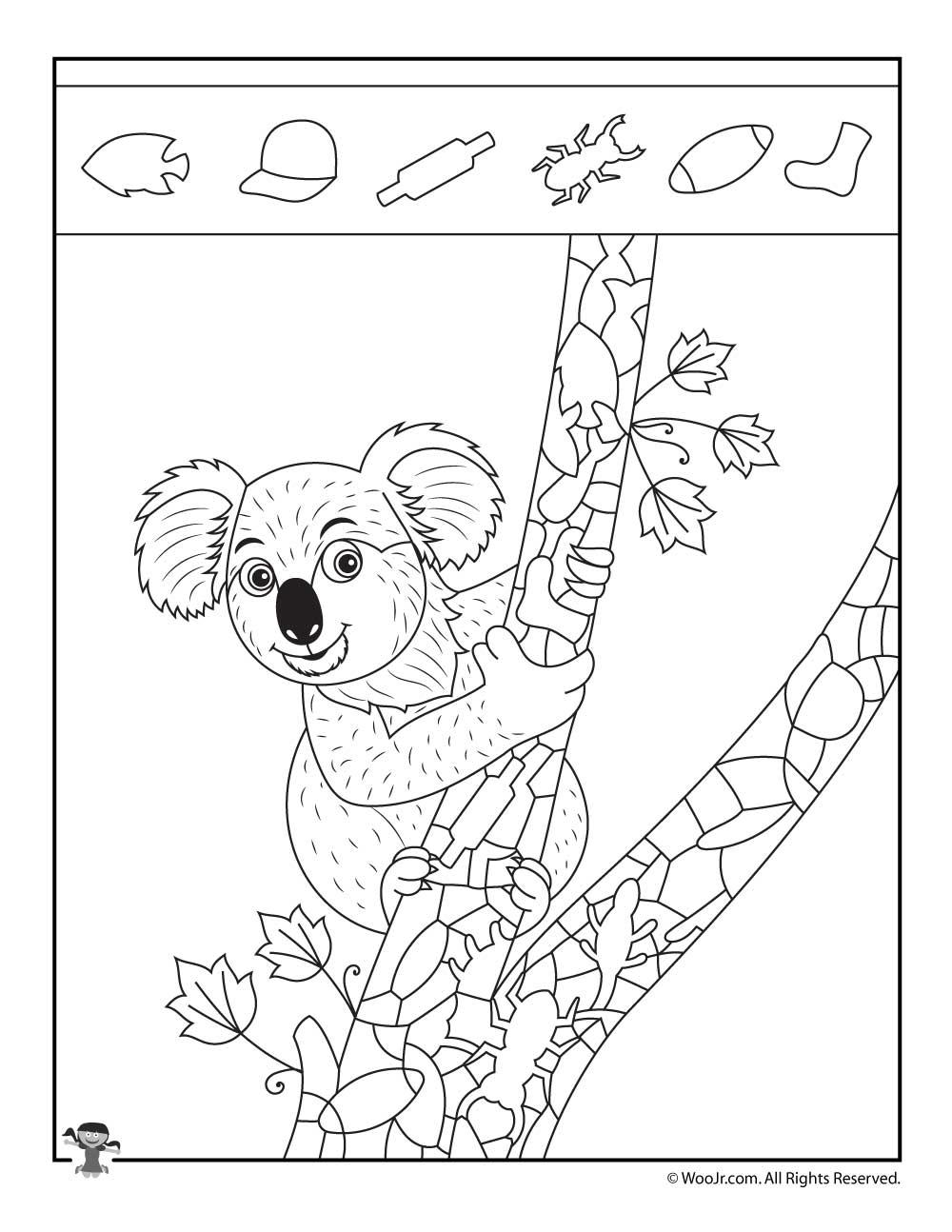 Koala hidden picture puzzle page woo jr kids activities