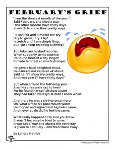 February's Grief Leap Year Poem for Kids