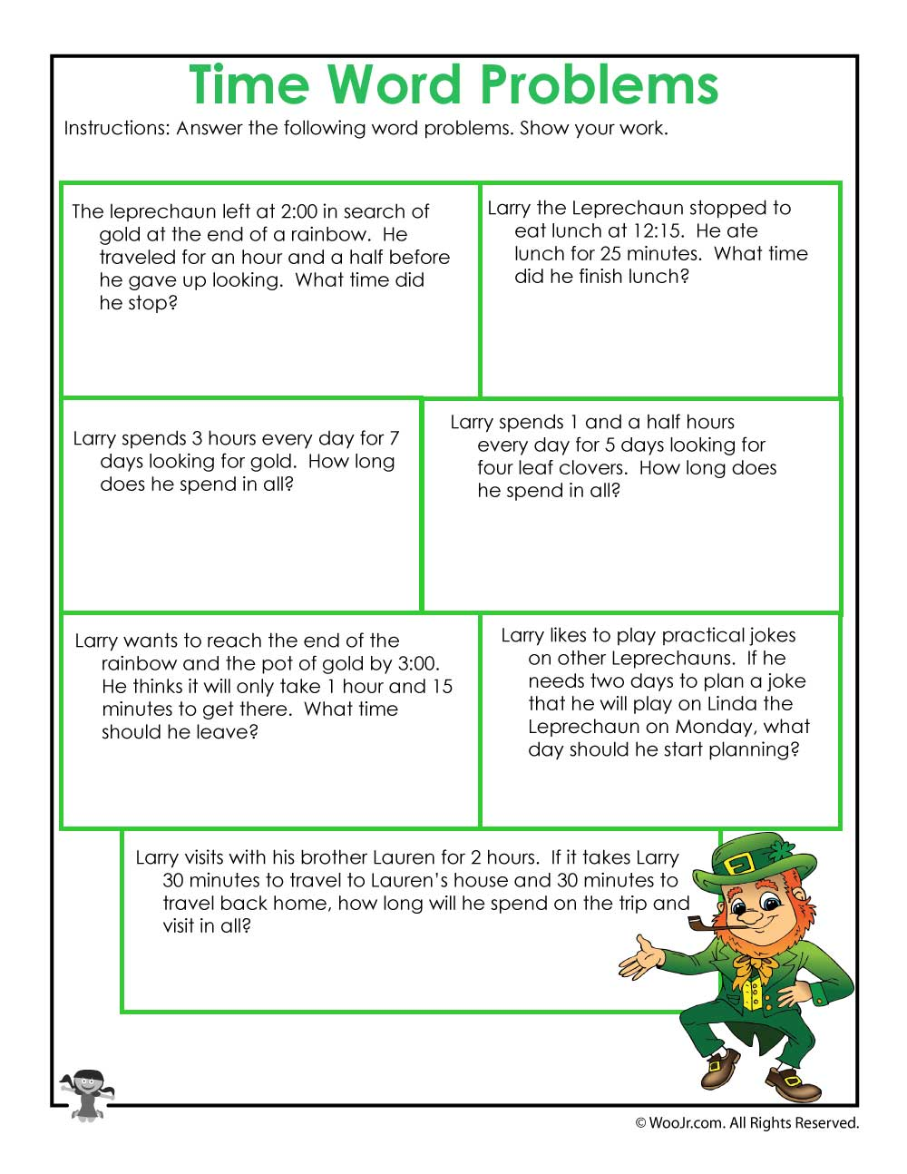 Leprechaun 3rd Grade Math Worksheet | Woo! Jr. Kids Activities