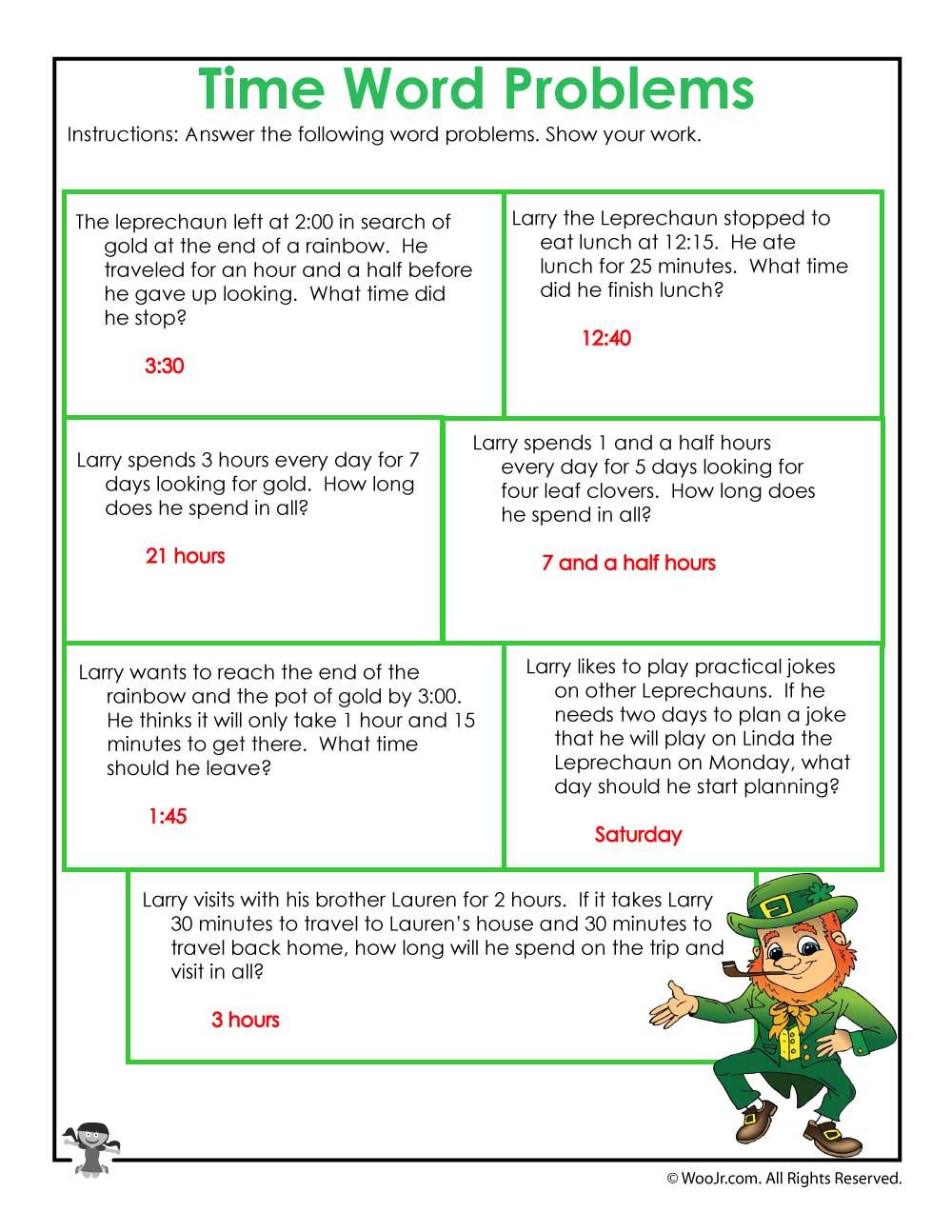 Leprechaun 3rd Grade Math Worksheet Answer Key Woo Jr Kids Activities [ 1294 x 1000 Pixel ]