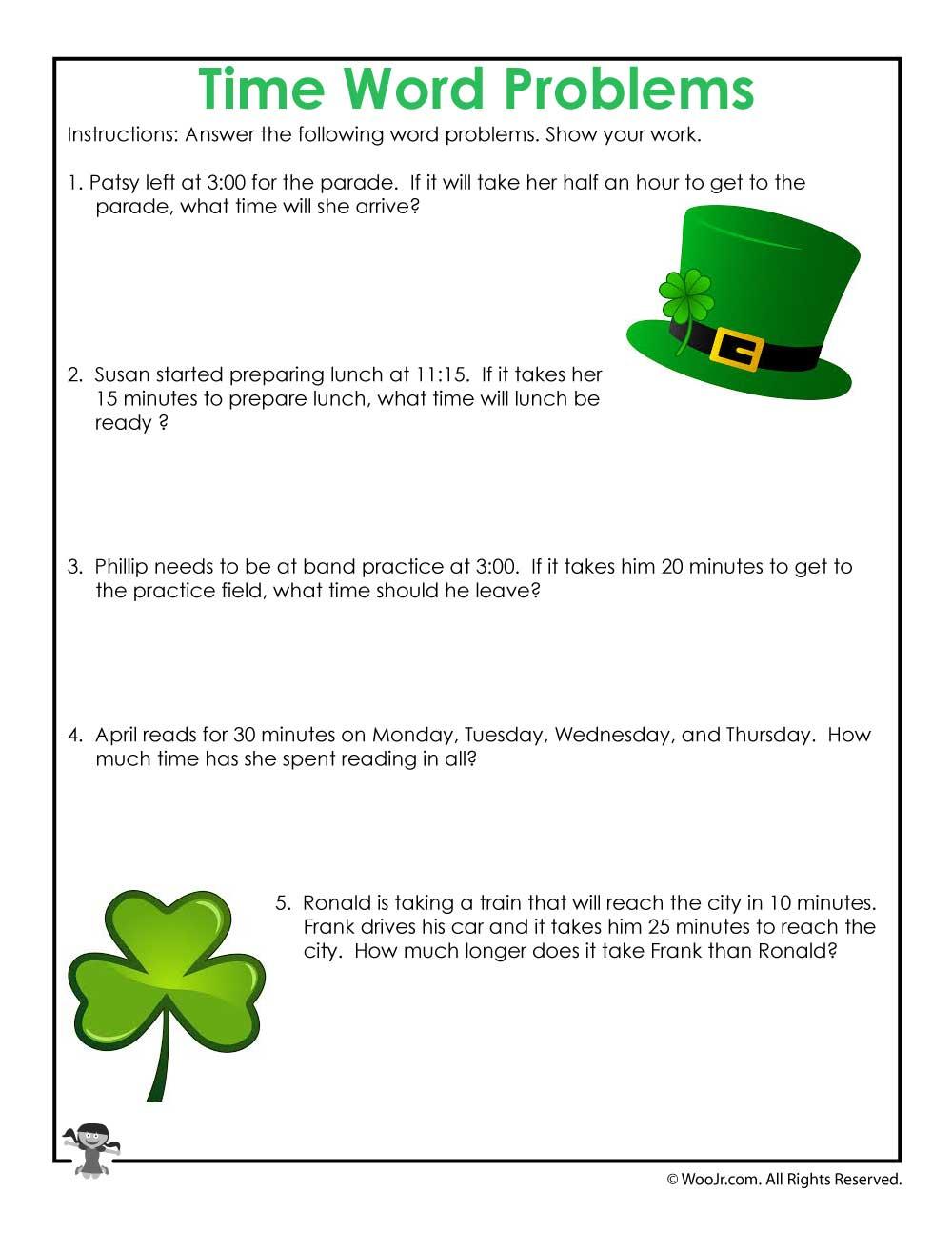 Time Word Problems Math Worksheet | Woo! Jr. Kids Activities