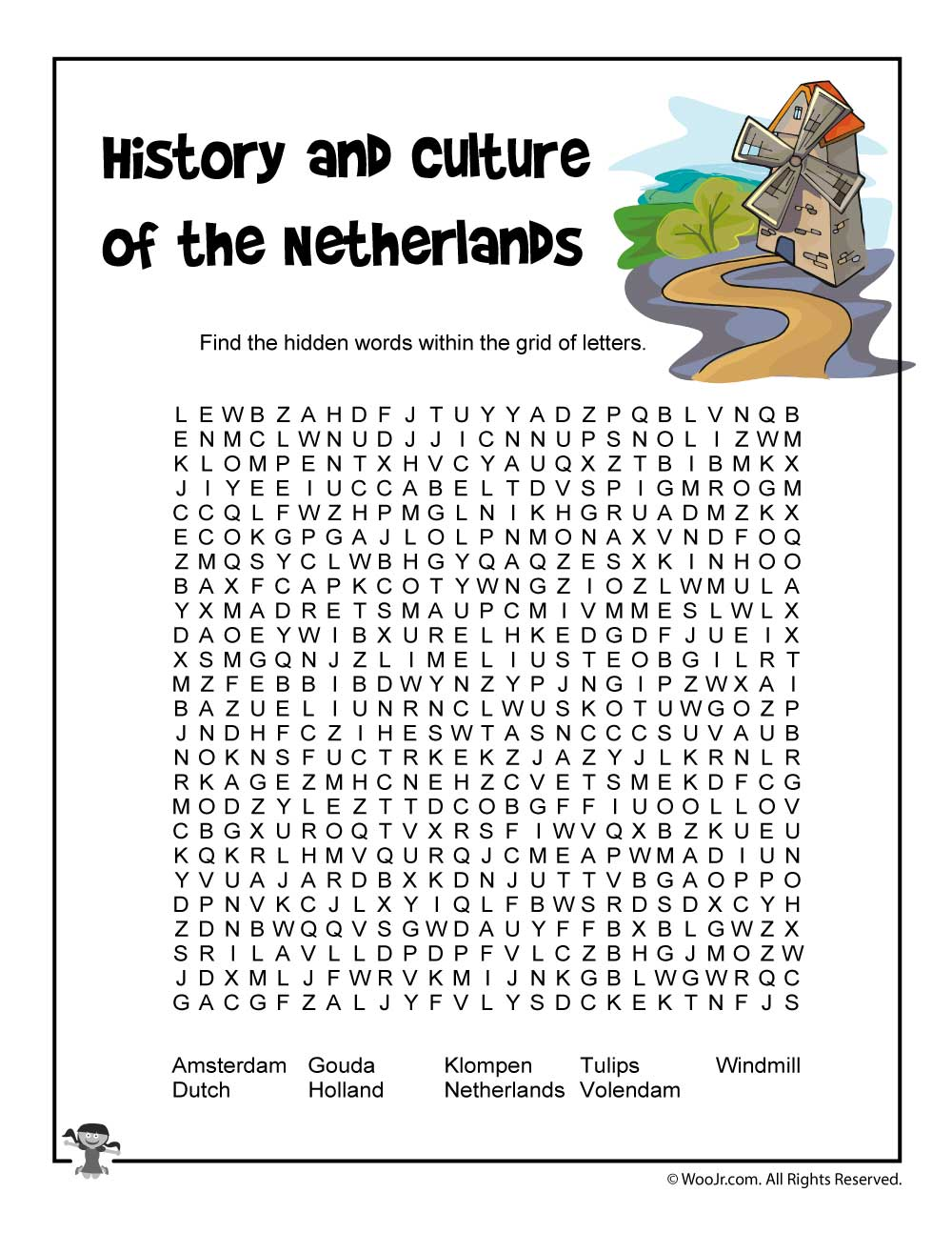 netherlands history and culture word search