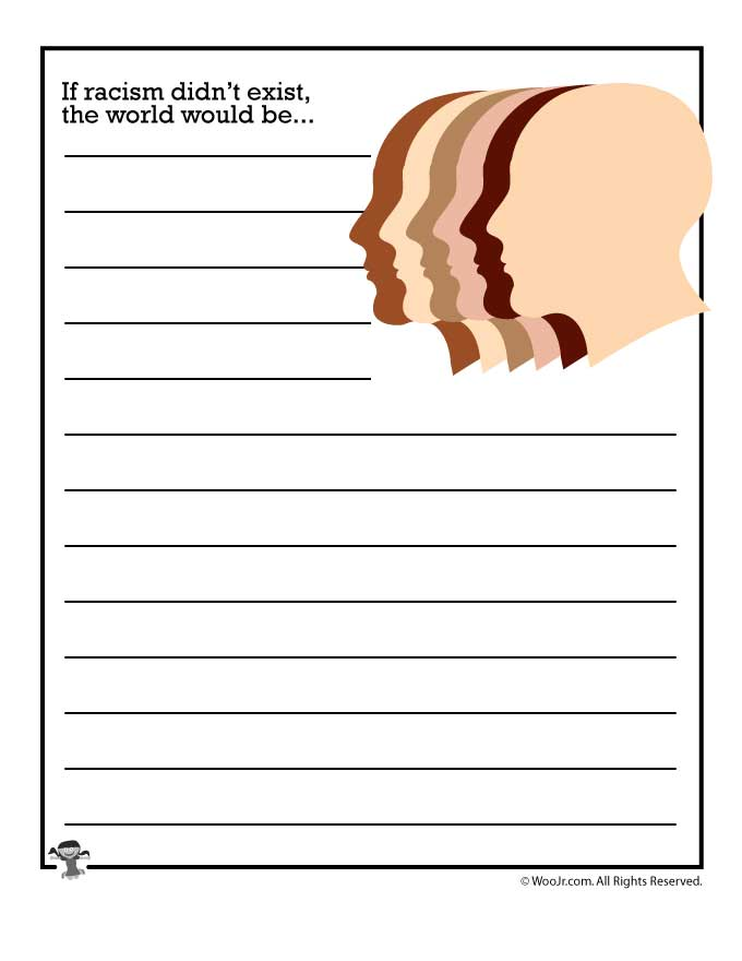 Printable Worksheets racism worksheets : If racism didn't exist, the world would be... - Woo! Jr. Kids ...