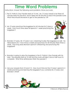 St. Patrick's Math Word Problem Worksheet
