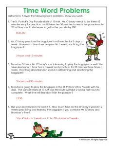 St. Patrick's Math Word Problem Worksheet Answer Key