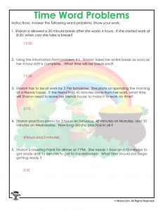 3rd Grade Time Worksheet Printable Answer Key
