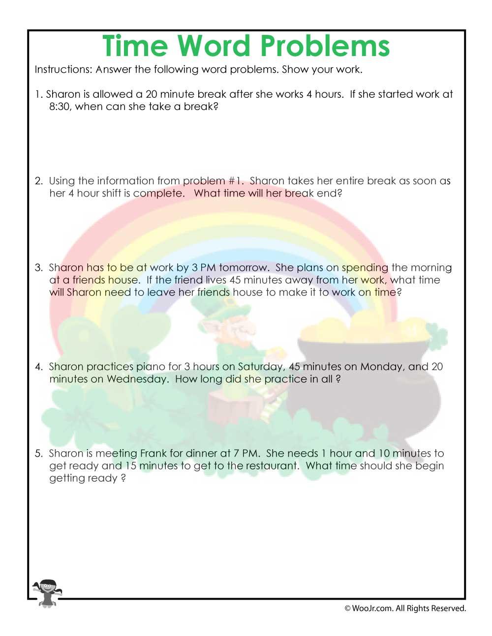 3rd Grade Time Worksheet Printable | Woo! Jr. Kids Activities