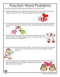 Valentine's Day Fractions Word Problems Worksheet