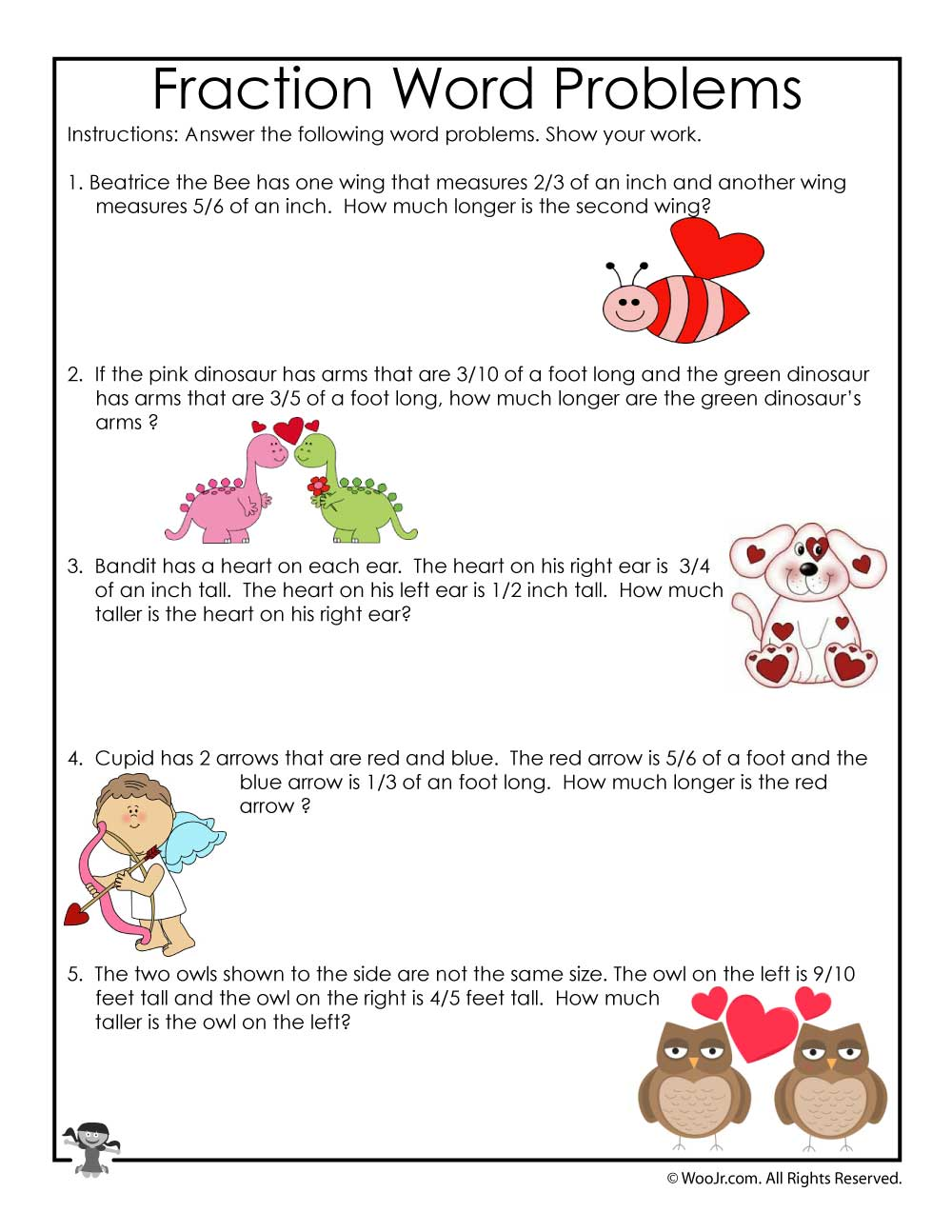 Valentines Day Math Word Problems With Fractions Woo Jr Kids
