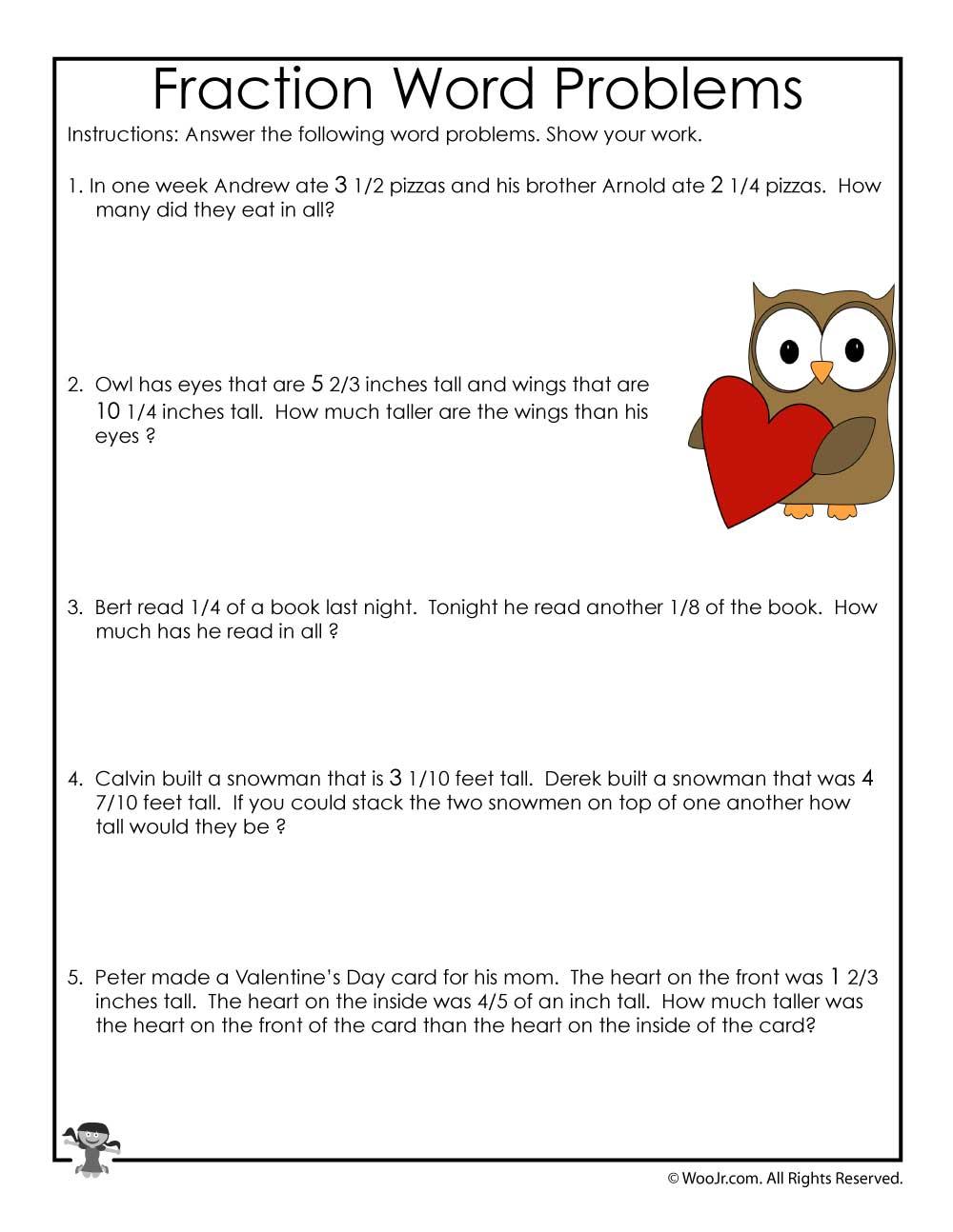 Fractions Word Problems Worksheet Woo Jr Kids Activities