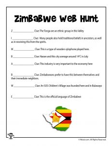 Zimbabwe Web Hunt Worksheet