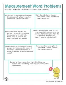 Math MEasurement Word Problems Worksheet