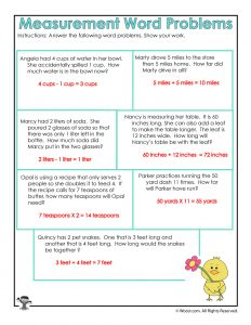 Math Measurement Word Problems Worksheet Answer Key