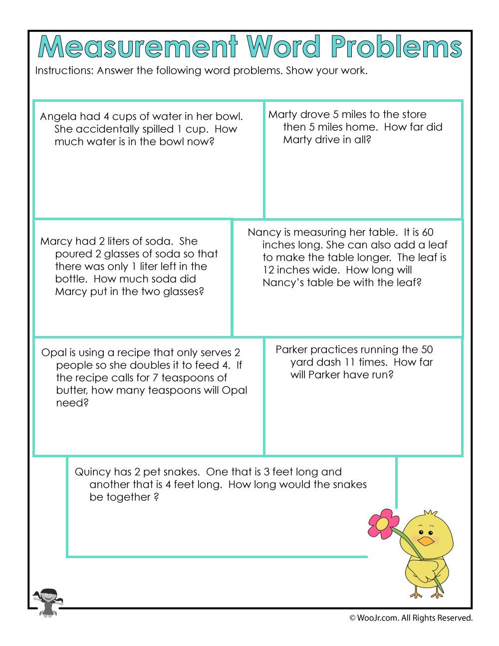 Worksheets Measuring Cups Worksheets math measurement word problems worksheet woo jr kids activities
