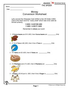 Ghana Currency Conversion Worksheet #2