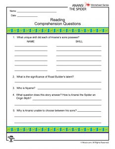 Anansi the Spider Printable Reading Comprehension Questions