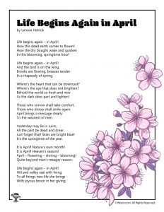 Life Begins Again in April Spring Kids Poetry