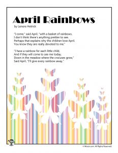 April Rainbows Poem for Kids