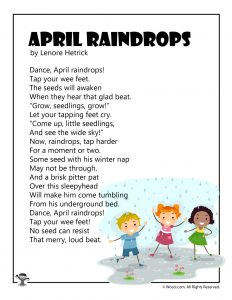 April Raindrops Children's Poetry to Print