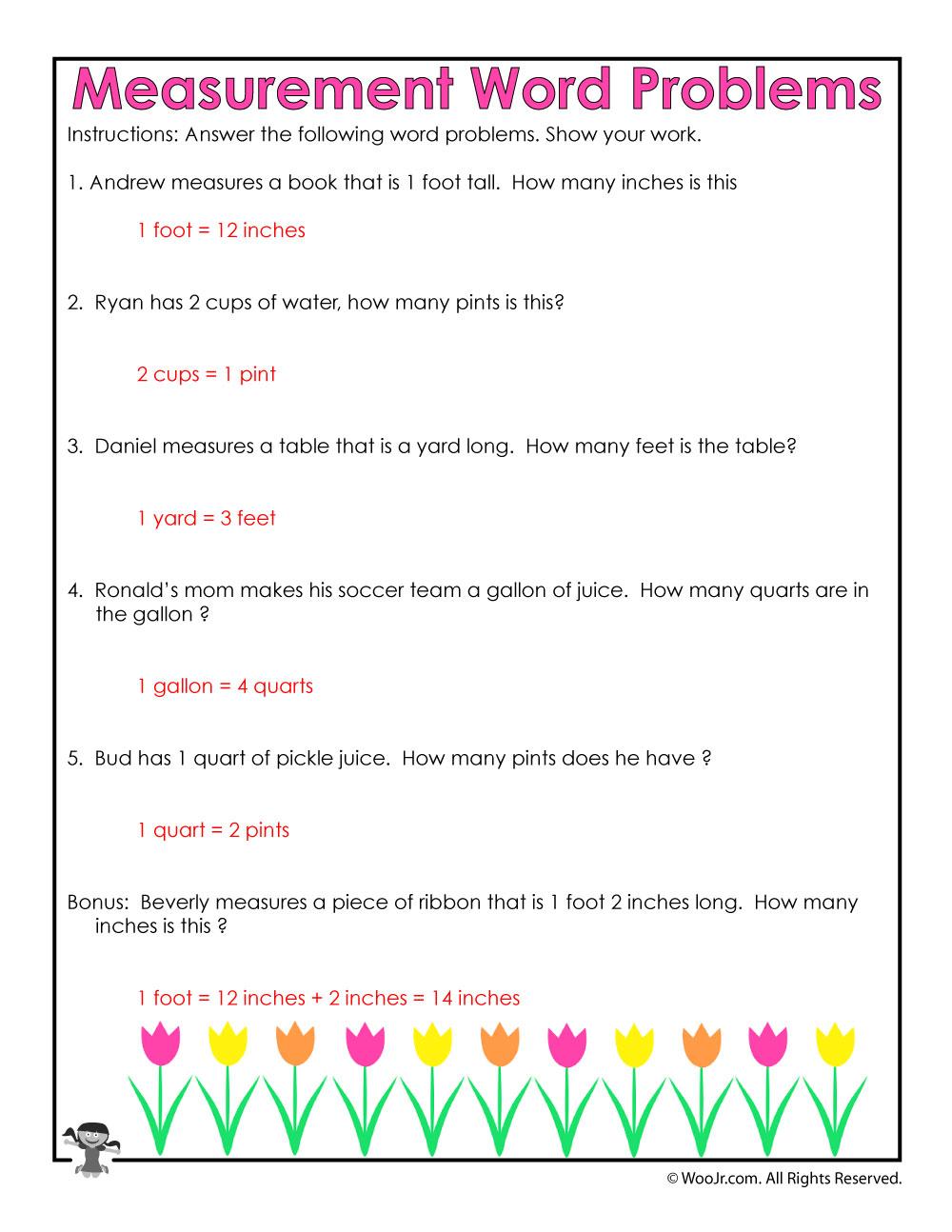 Converting Simple Measurements Worksheet Answer Key Woo Jr Kids
