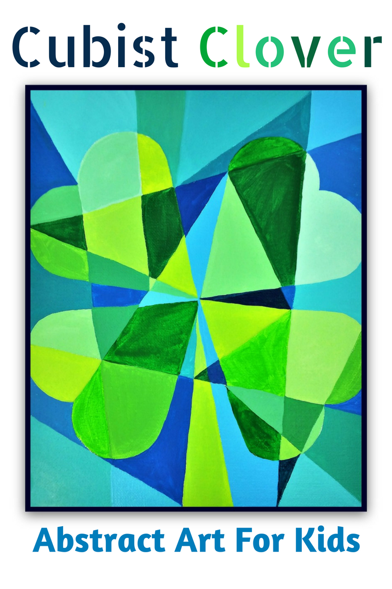 Cubist Clover St Patrick S Day Abstract Art For Kids Woo