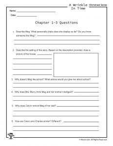 a wrinkle in time lesson plans and activities free