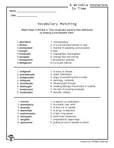Wrinkle in Time Vocabulary Words Worksheet