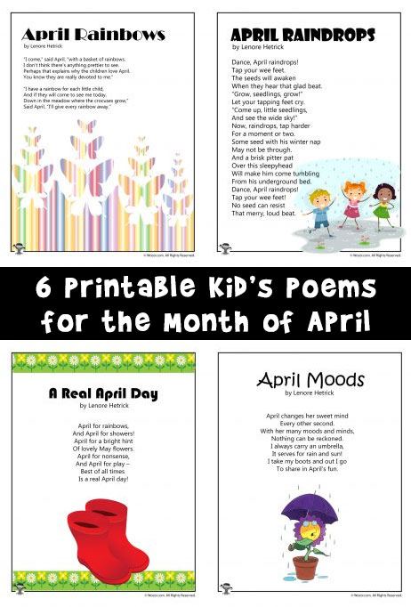 Kid U0026 39 S Poems For The Month Of April
