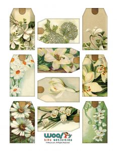 White Flower Printable Hang Tags