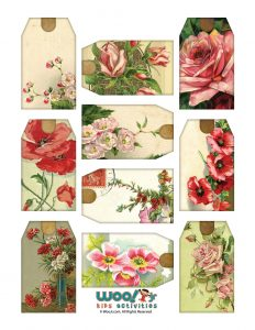 Red and Pink Flower Gift Tags to Print