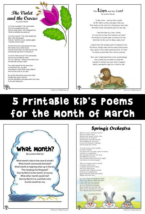 March Kids Poems To Print And Read Woo Jr Kids Activities