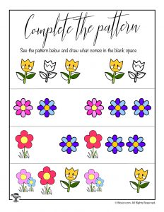 Spring Complete the Pattern Worksheet