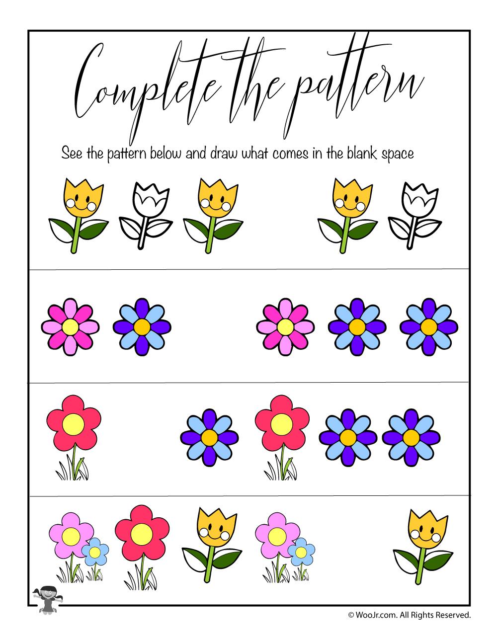 spring complete the pattern worksheet woo jr kids. Black Bedroom Furniture Sets. Home Design Ideas