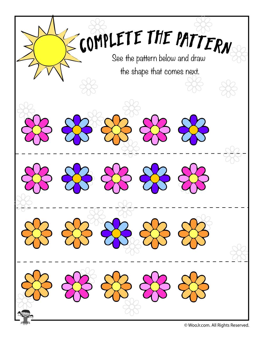 flower pattern recognition worksheet woo jr kids activities. Black Bedroom Furniture Sets. Home Design Ideas