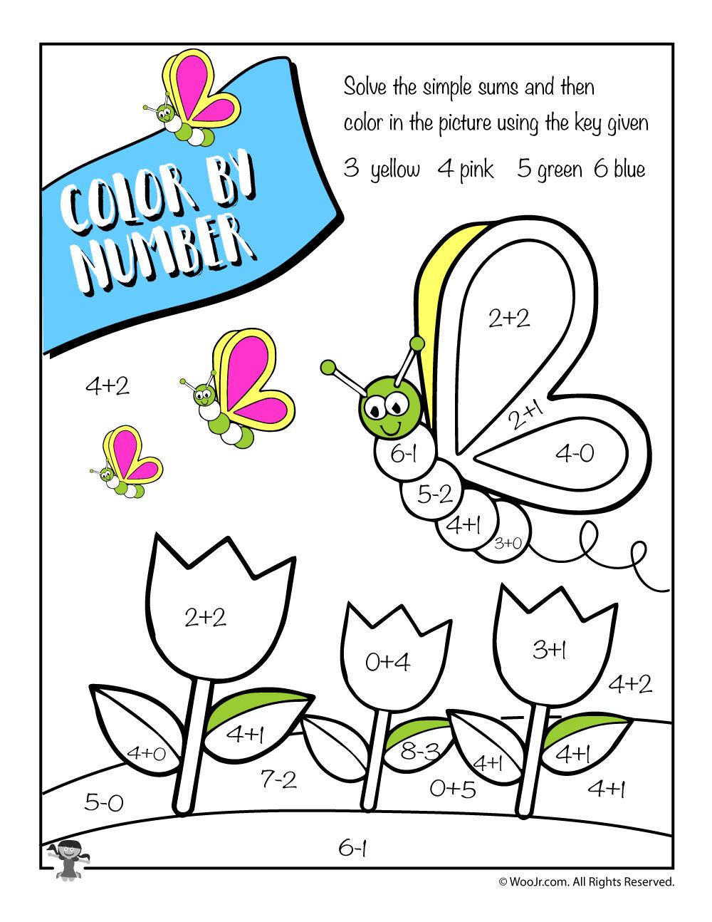 Spring Color by Number Math Worksheet - Woo! Jr. Kids Activities